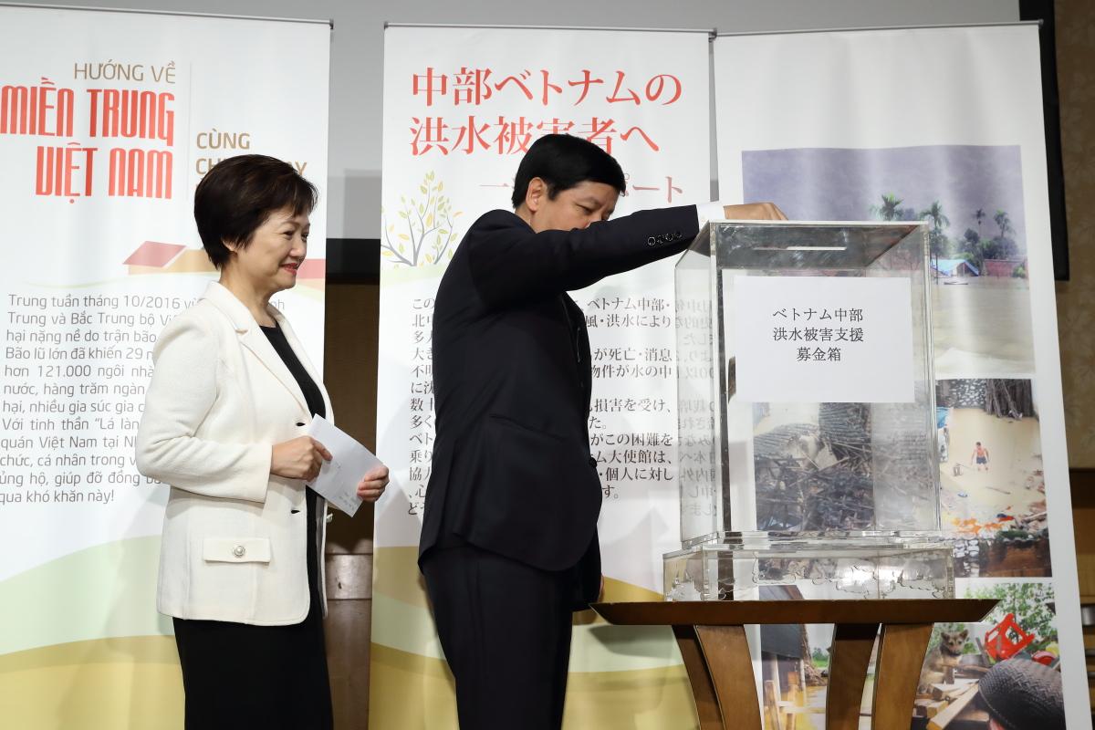 Đại sứ quán Việt Nam và tỉnh Kanagawa quyên góp ủng hộ đồng bào miền Trung bị lũ lụt