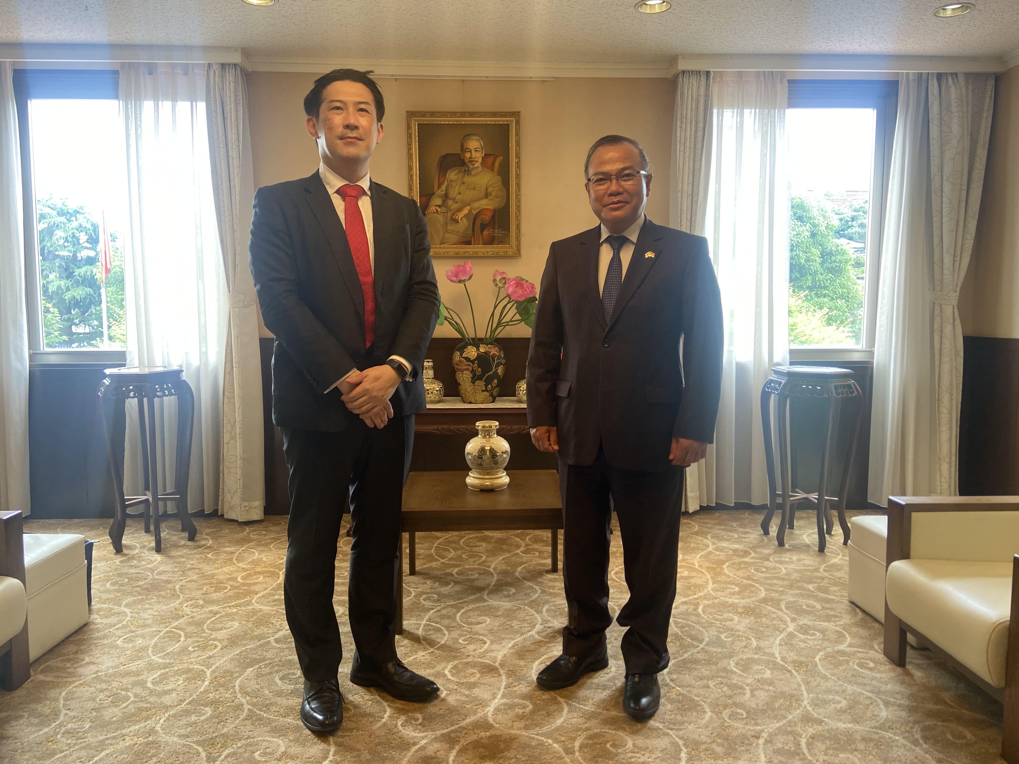 Đại sứ Vũ Hồng Nam tiếp Trưởng chi nhánh ngân hàng Mizuho  tại thành phố Hồ Chí Minh mới được bổ nhiệm