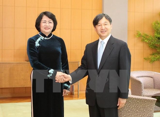 Phó Chủ tịch nước Đặng Thị Ngọc Thịnh gặp Nhà Vua, Hoàng Hậu và Hoàng Thái tử Nhật Bản