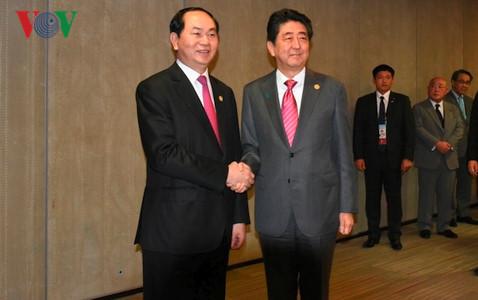Chủ tịch nước Trần Đại Quang hội đàm với Thủ tướng Nhật Bản Sin-Dô A-Bê
