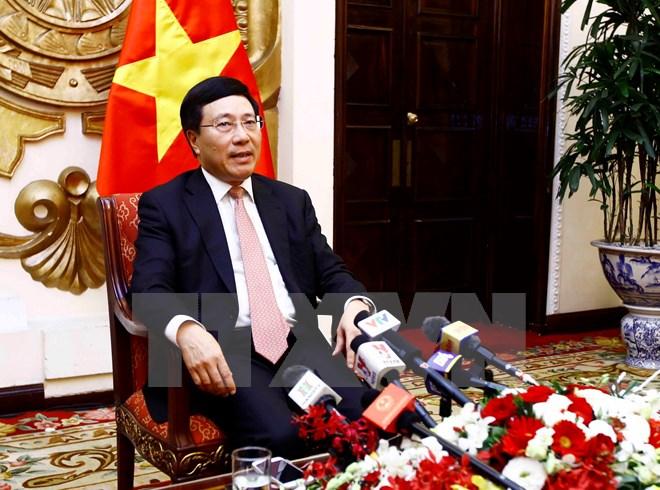 Phó Thủ tướng, Bộ trưởng Phạm Bình Minh trả lời phỏng vấn báo chí về kết quả năm APEC 2017 và tuần lễ cấp cao APEC 2017